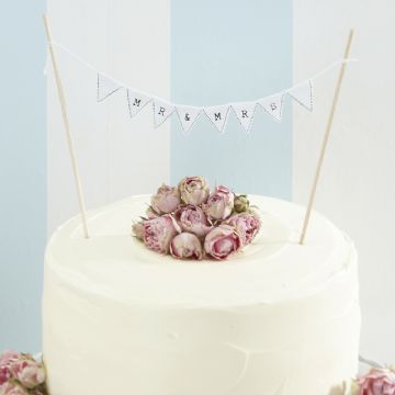 """Mr & Mrs"" Mini Wedding Cake Bunting - White"